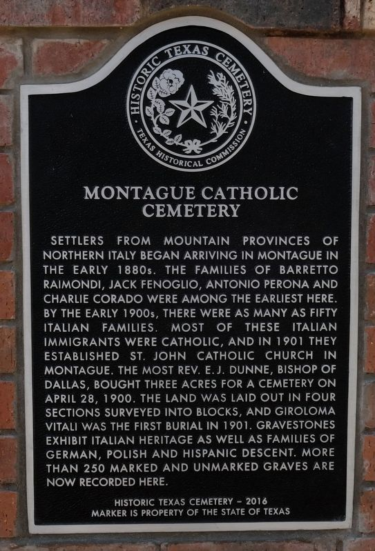 Montague Catholic Cemetery Texas Historical Marker image. Click for full size.