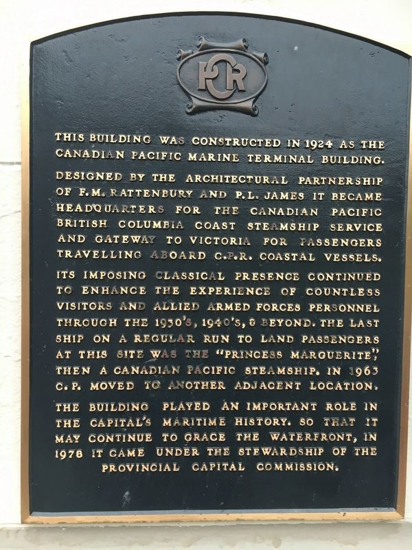 Canadian Pacific Marine Terminal Building Marker image. Click for full size.