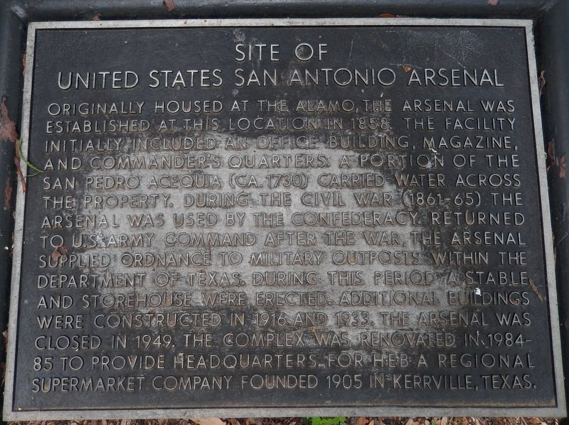 Site of United States San Antonio Arsenal Marker image. Click for full size.