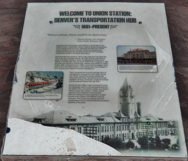 Welcome to Union Station Marker image. Click for full size.