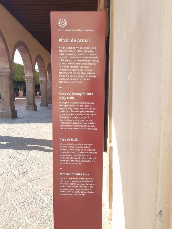 Plaza de Armas Marker English text image. Click for full size.