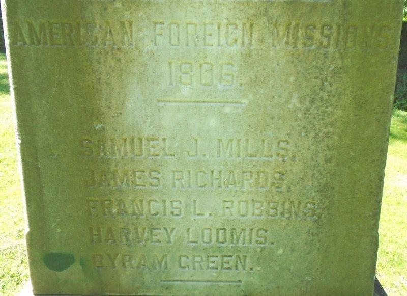 The Birthplace of American Foreign Missions Monument Detail image. Click for full size.