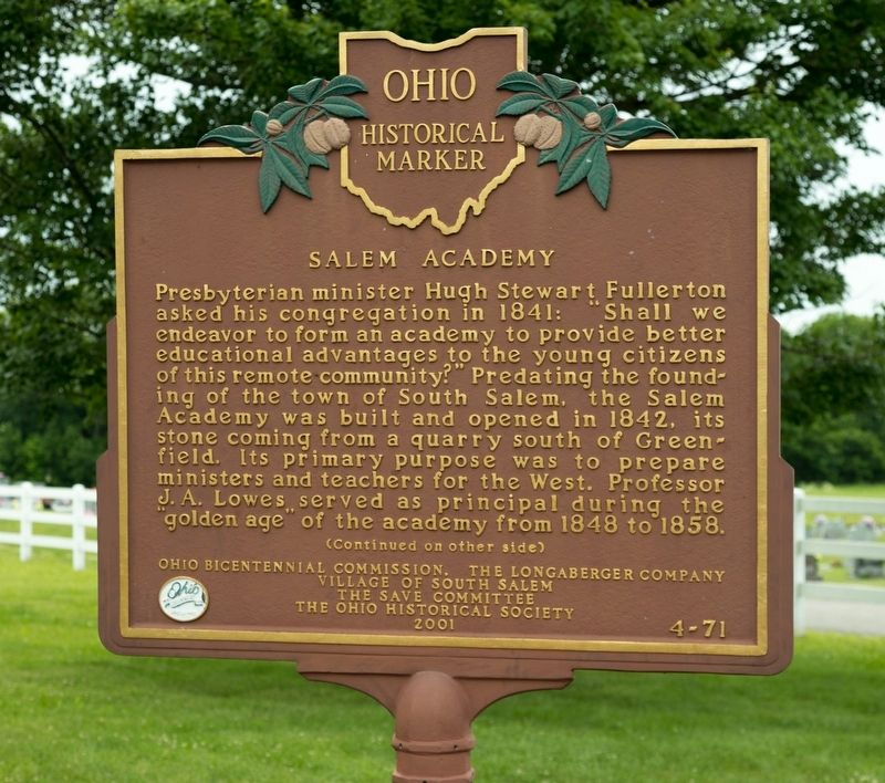 Salem Academy Marker, Side 1 image. Click for full size.