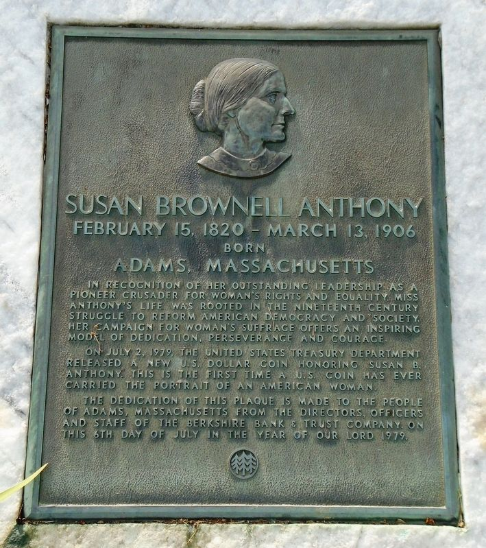 Susan Brownell Anthony Marker image. Click for full size.