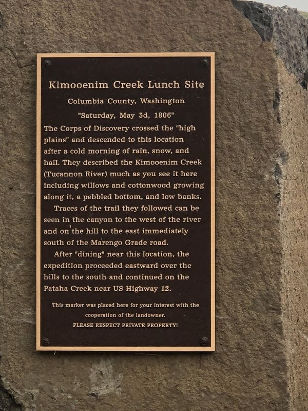 Kimooenim Creek Lunch Site Marker image. Click for full size.