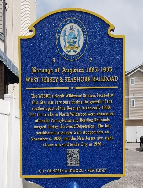 West Jersey and Seashore Railroad Marker image. Click for full size.