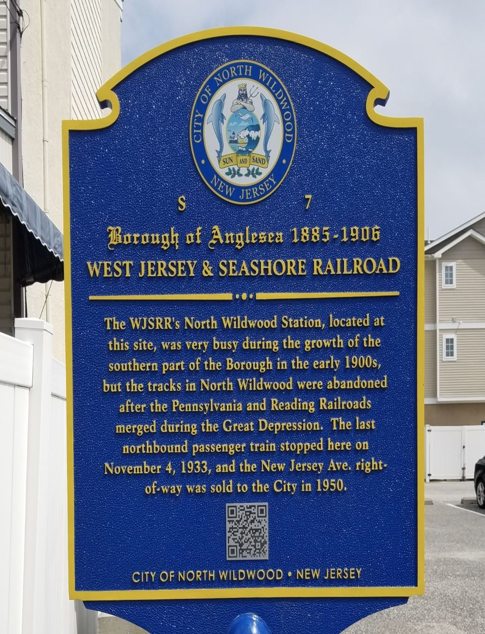 West Jersey and Seashore Railroad Marker