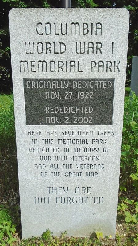Columbia World War I Memorial Park Dedication Marker image. Click for full size.
