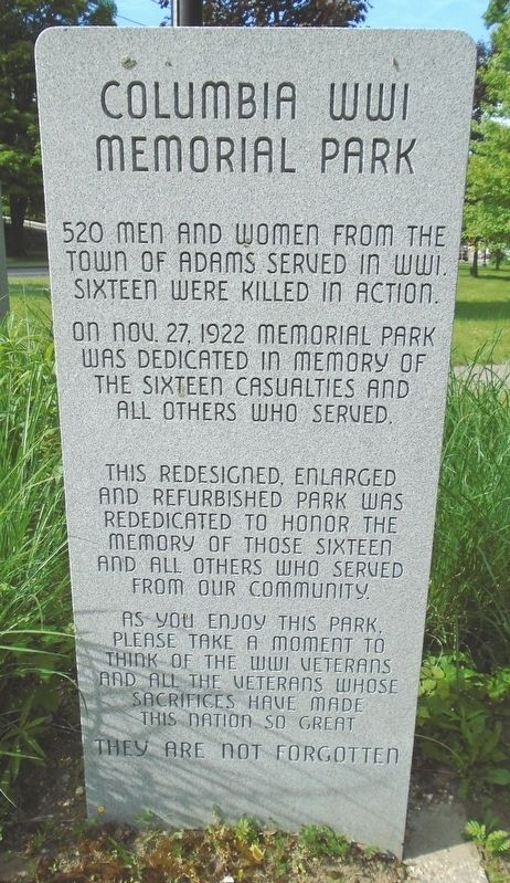 Columbia World War I Memorial Park Marker image. Click for full size.