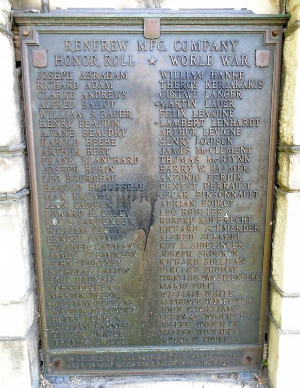Renfrew Manufacturing Company World War Honor Roll Marker image. Click for full size.