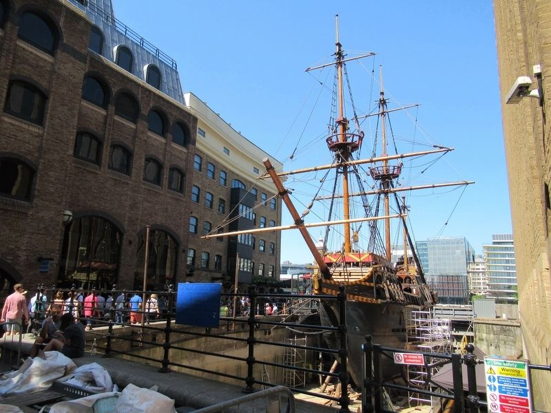 St. Mary Overie's Dock Marker and the Golden Hind image. Click for full size.