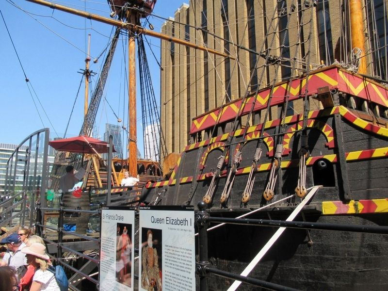 Sir Francis Drake Marker and the Golden Hind image. Click for full size.