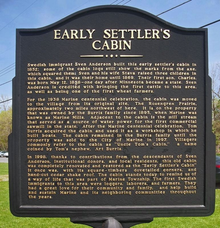 Early Settler's Cabin marker image. Click for full size.