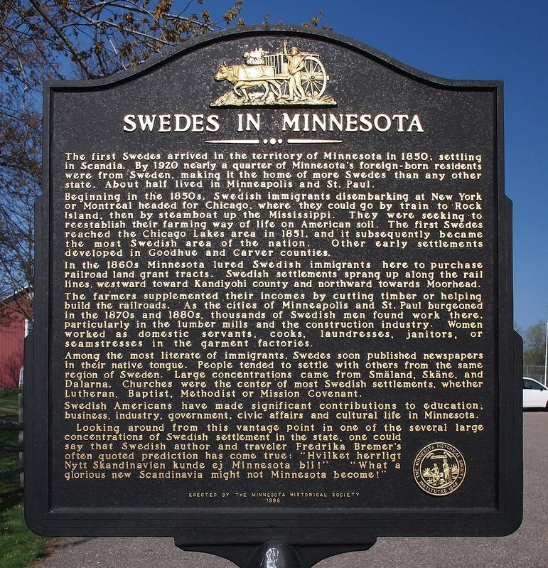 Swedes in Minnesota marker image. Click for full size.