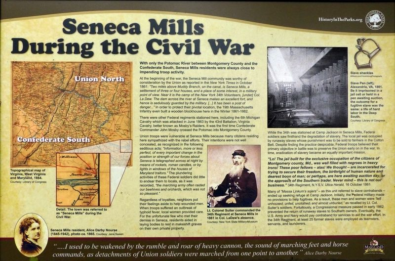Seneca Mills During the Civil War Marker image. Click for full size.