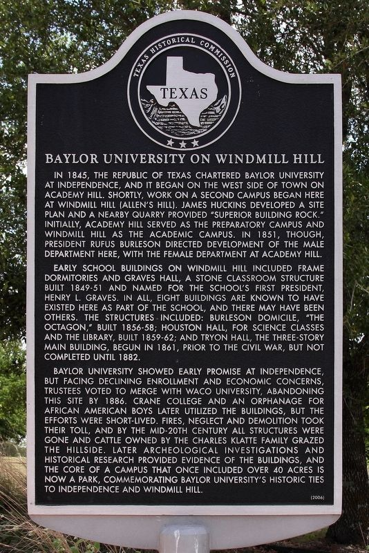 Baylor University on Windmill Hill Marker image. Click for full size.