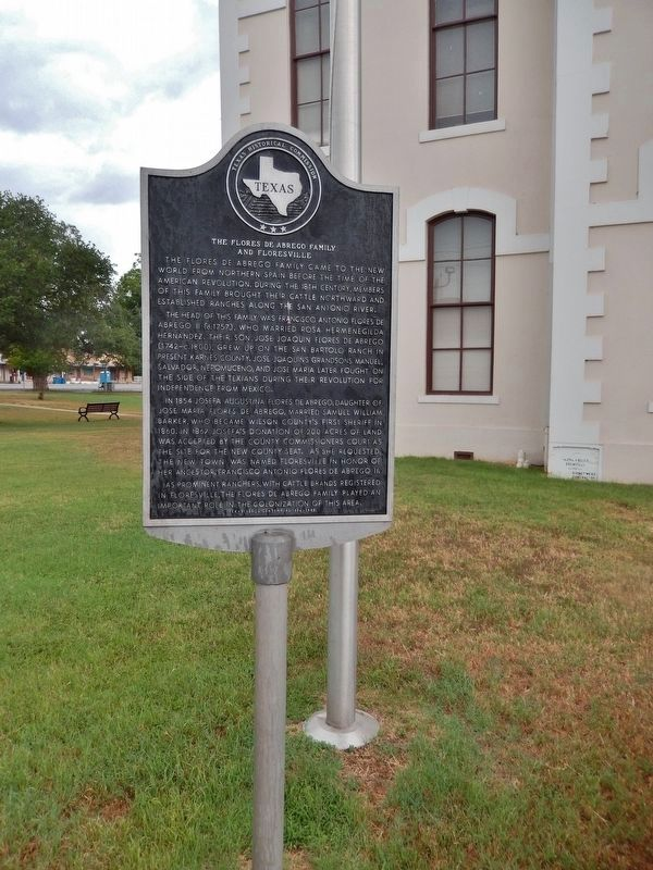 The Flores de Abrego Family and Floresville Marker (<i>tall view</i>) image. Click for full size.