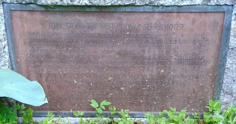 Here Stood the West Hoosac Blockhouse Marker image. Click for full size.
