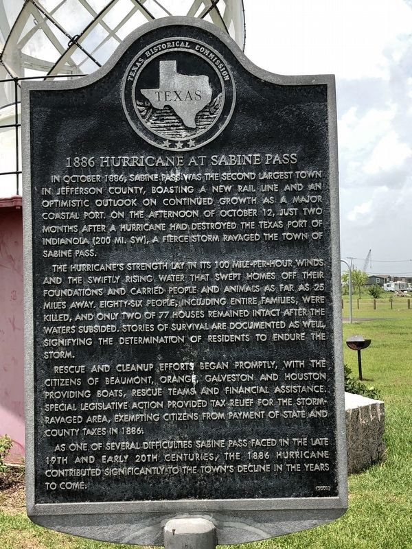 1886 Hurricane at Sabine Pass Marker image. Click for full size.