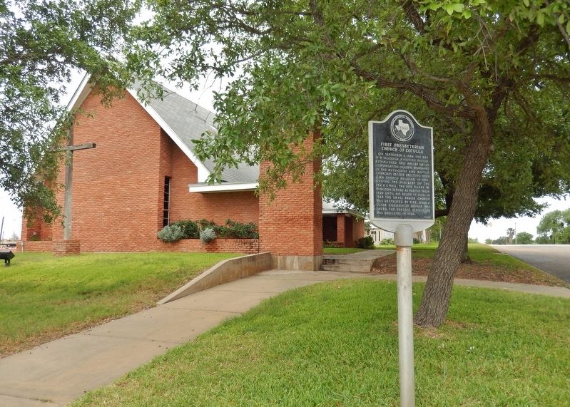 First Presbyterian Church of Cotulla Marker (<i>tall view</i>) image. Click for full size.