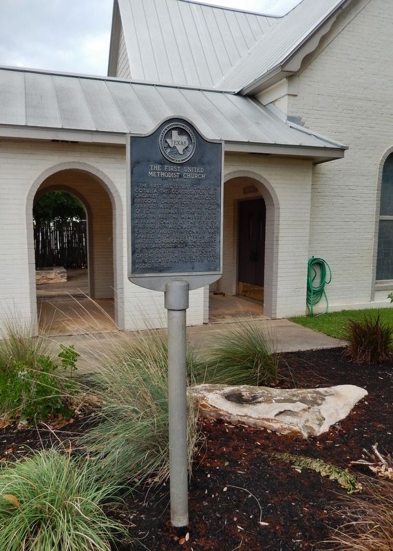 The First United Methodist Church of Cotulla Marker (<i>tall view</i>) image. Click for full size.
