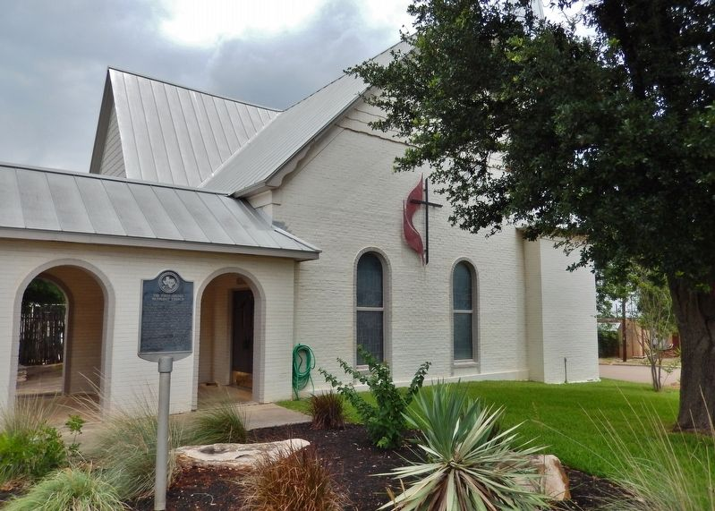 The First United Methodist Church of Cotulla Marker (<i>wide view</i>) image. Click for full size.