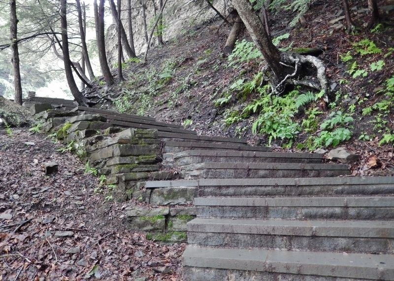 Gorge Trail Staircase (<i>C.C.C. stonework at Buttermilk Falls State Park</i>) image. Click for full size.