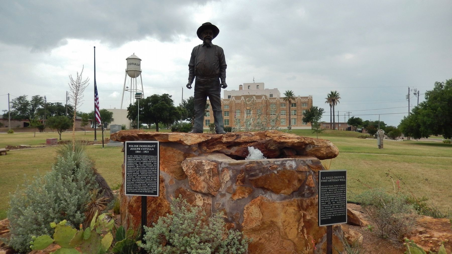 Joseph Cotulla Marker (<i>left marker; Cotulla City Park, La Salle County Courthouse background</i>) image. Click for full size.