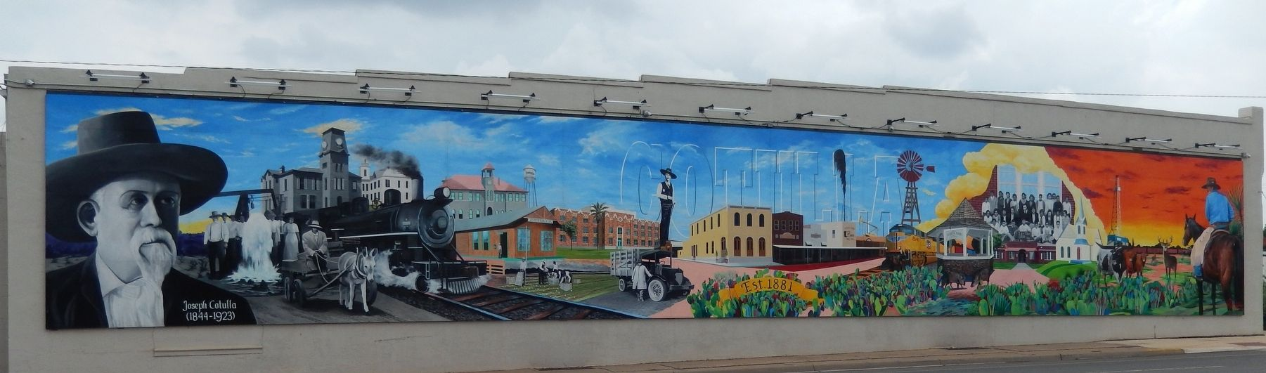 Joseph Cotulla Mural (<i>covers entire west wall of building across Main Street from marker</i>) image. Click for full size.