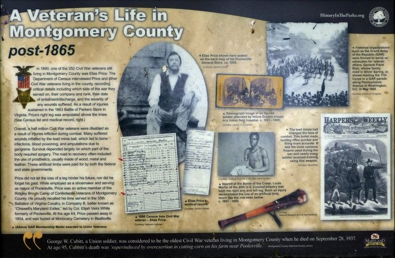 A Veteran's Life in Montgomery County Marker image. Click for full size.