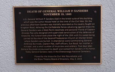 Death of General William P. Sanders Marker image. Click for full size.