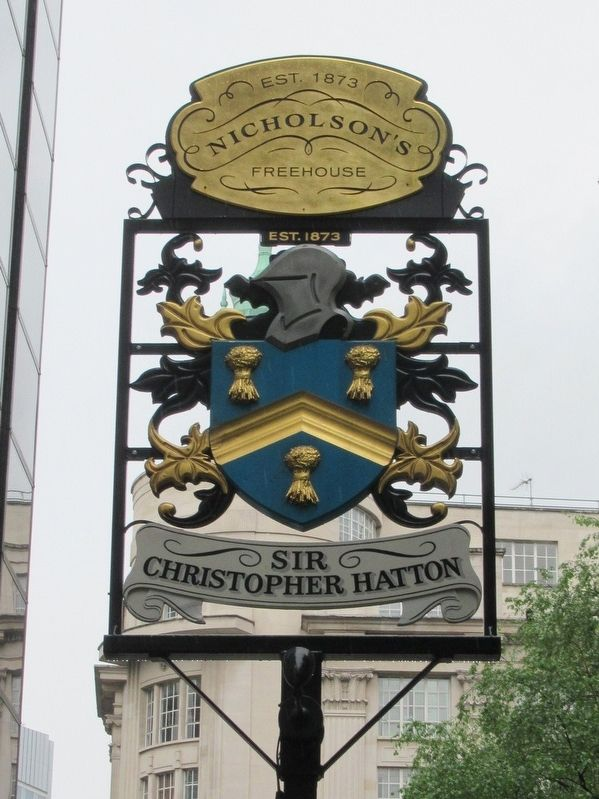 Sir Christopher Hatton Sign image. Click for full size.