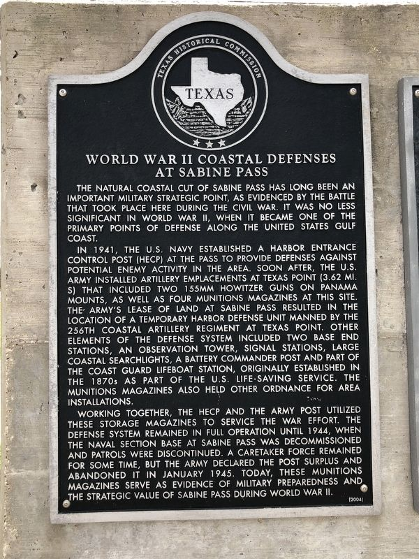 World War II Coastal Defenses at Sabine Pass Marker image. Click for full size.