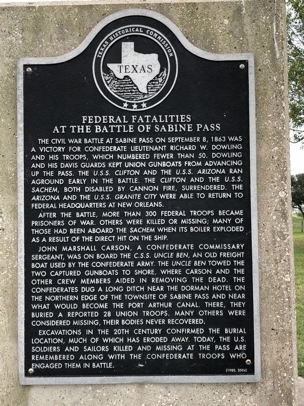 Federal Fatalities at the Battle of Sabine Pass Marker image. Click for full size.