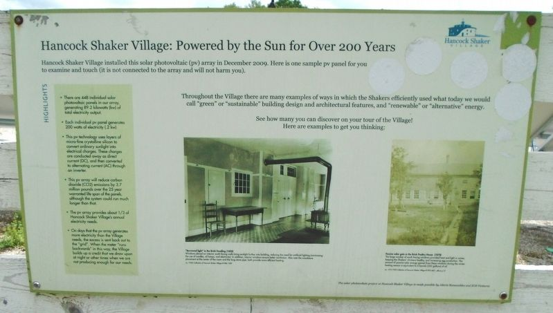 Hancock Shaker Village: Powered by the Sun for Over 200 Years Marker image. Click for full size.