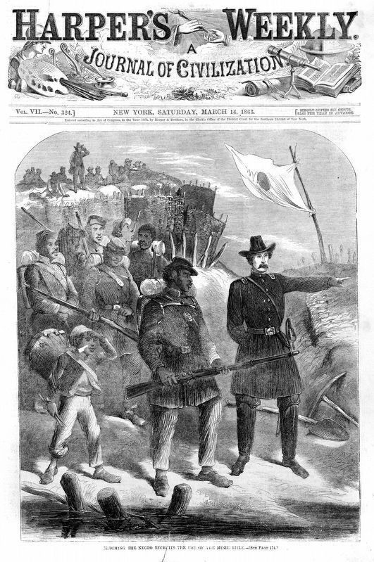 <i>Teaching the Negro Recruits the Use of the Minie Rifle</i><br><u>Harper&#39;s Weekly</u>, Mar 14 1863 image. Click for full size.