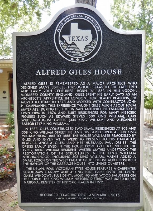 Alfred Giles House Marker image. Click for full size.