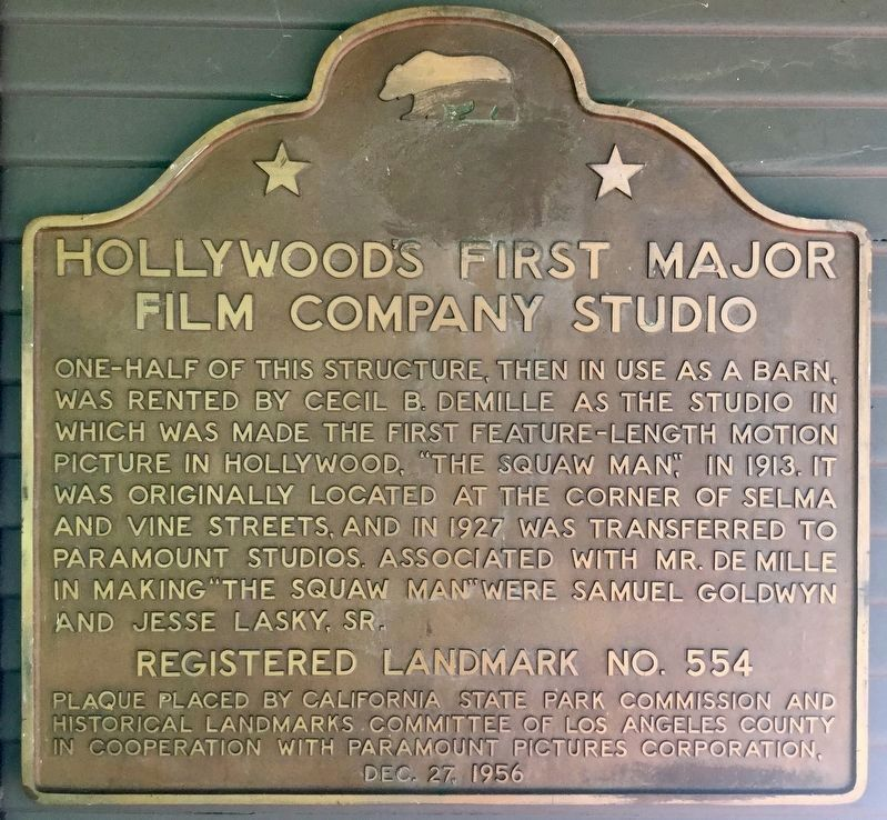 Hollywood's First Studio Marker image. Click for full size.