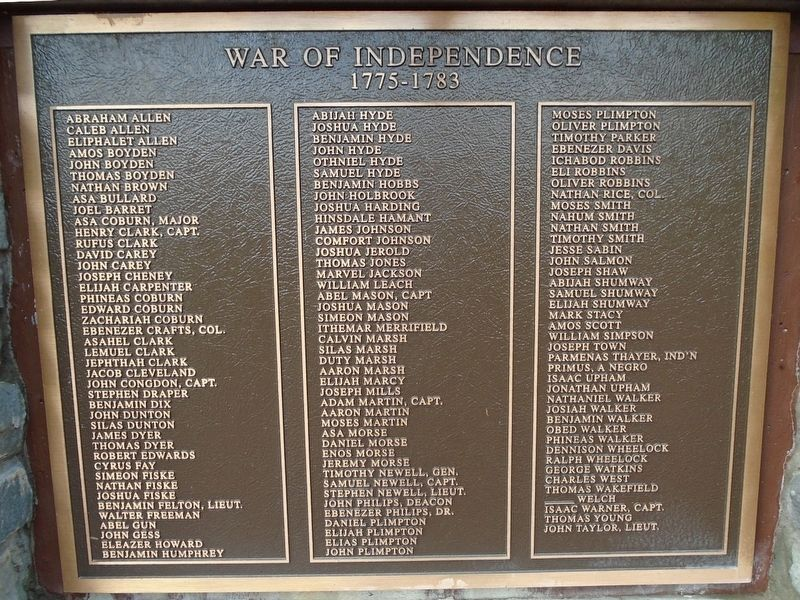 Sturbridge Honor Roll - War of Independence image. Click for full size.