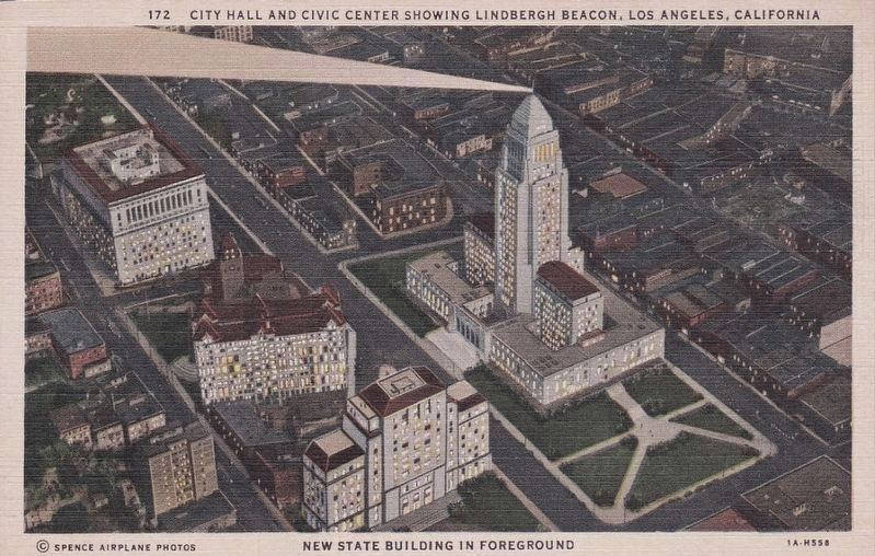 <i>City Hall and Civic Center Showing Lindbergh Beacon, Los Angeles, California</i> image. Click for full size.