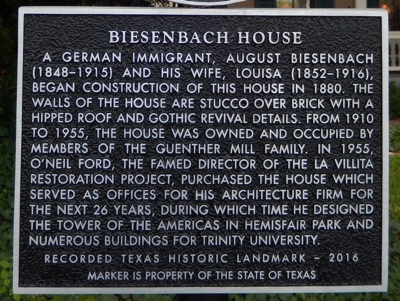Biesenbach House Marker image. Click for full size.
