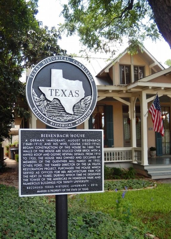 Biesenbach House Marker (<i>tall view; showing Texas Historical Medallion</i>) image. Click for full size.