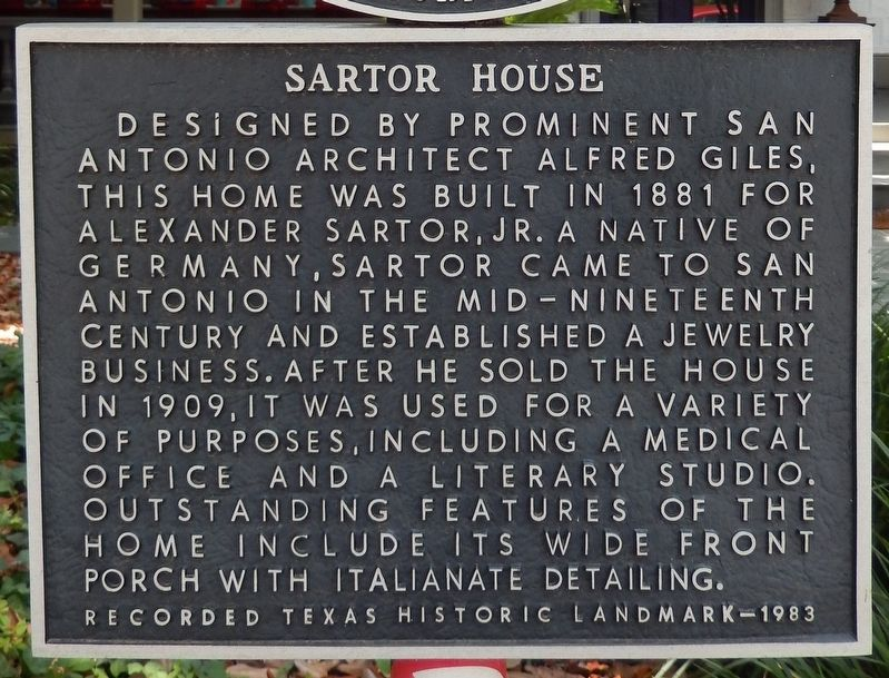 Sartor House Marker image. Click for full size.