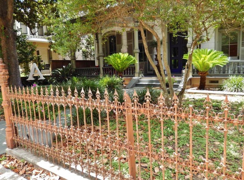 Sartor House (<i>sidewalk view; showing decorative wrought iron fence</i>) image. Click for full size.