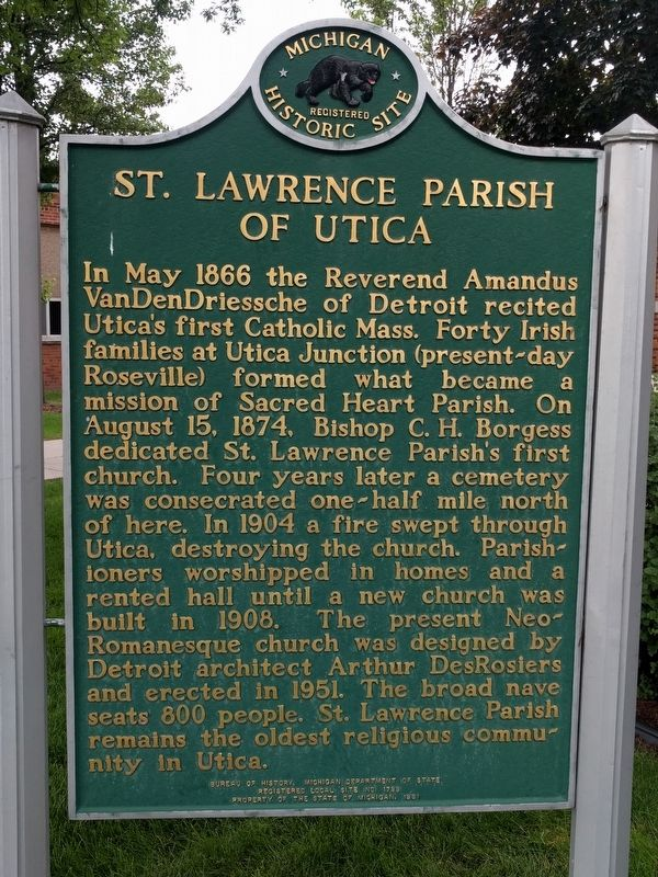 St. Lawrence Parish of Utica Marker image. Click for full size.