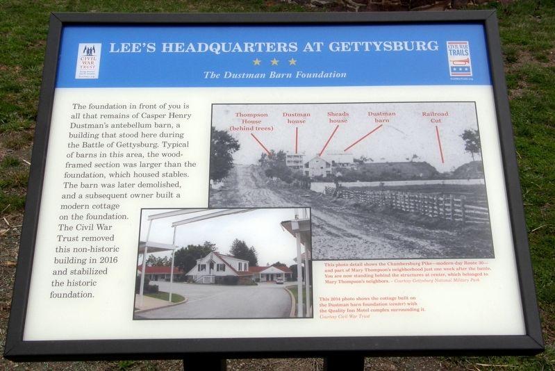 Lee's Headquarters At Gettysburg - The Dustman Barn Foundation Marker image. Click for full size.