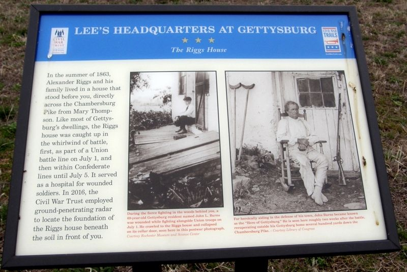 Lee's Headquarters At Gettysburg - The Riggs House Marker image. Click for full size.