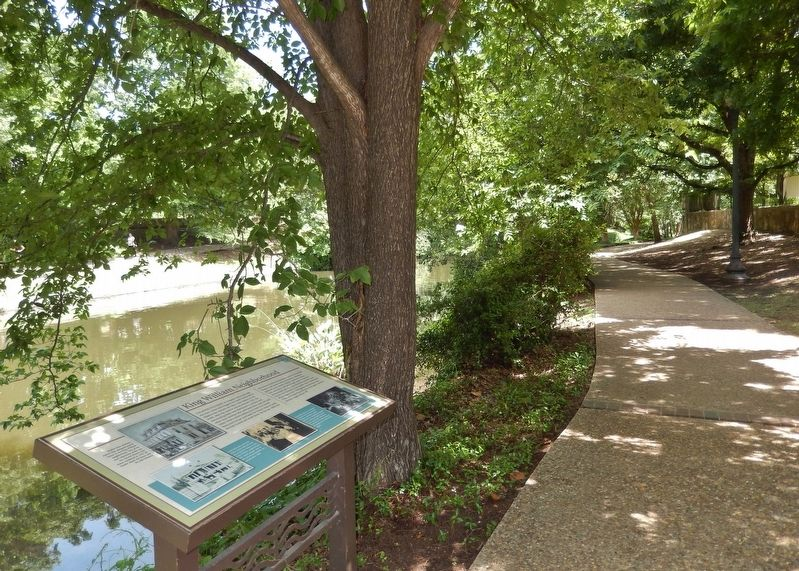 King William Neighborhood Marker (<i>view north along San Antonio River Walk</i>) image. Click for full size.