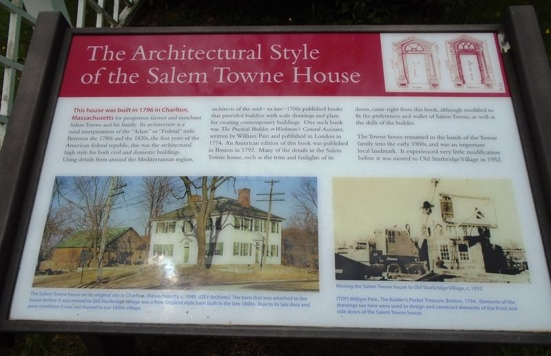 The Architectural Style of the Salem Towne House Marker image. Click for full size.