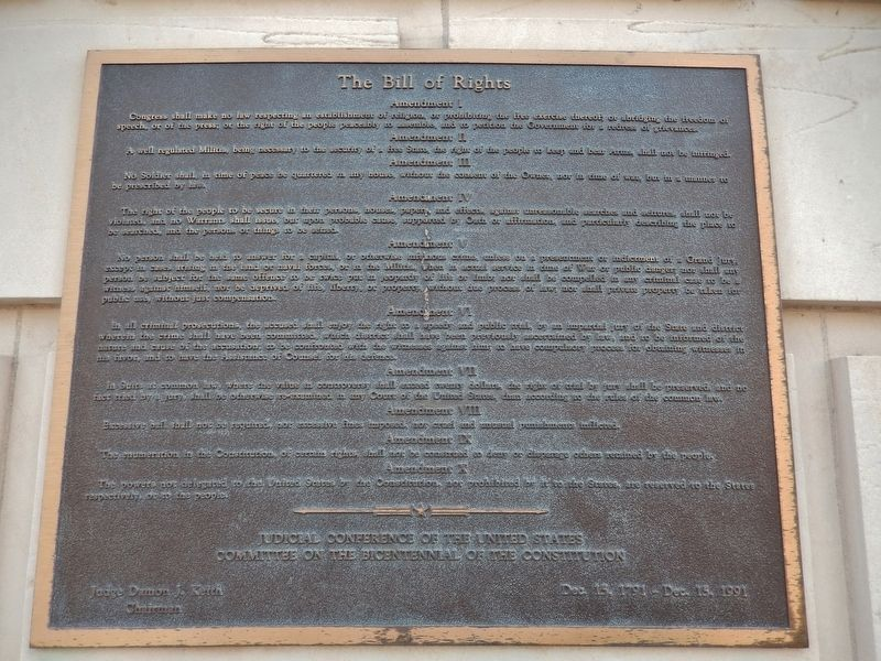 U.S. Federal Building - Bill of Rights Plaque (<i>mounted on wall, above marker</i>) image. Click for full size.